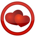 round icon with hearts vector image