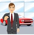 automobile salesman holding the key vector image