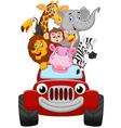 Cartoon happy animal with red car vector image