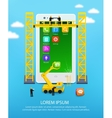 Construction mobile phone smartphone user vector image