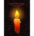 Felt pen drawing of burning candle vector image
