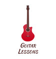 guitar lessons school logo flat vector image