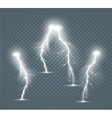 Set of the isolated realistic lightnings with vector image