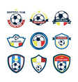 soccer fever footbal club emblem set vector image