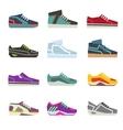 Sportwear shoes different footwear sport flat vector image