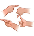 Set of hand pointers vector image vector image