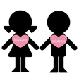 Boy and girl with lovers in hearts vector image