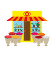 a flower shop with flowers vector image