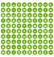 100 building icons hexagon green vector image