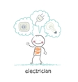 electrician thinking about sockets plugs and lamp vector image