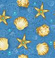 Blue seamless of gold seashells vector image vector image