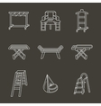 Flat white line home furniture icons set vector image