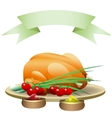 fried chicken with vegetables and hot spices vector image