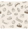 Seamless baked sweet food pattern Cake cookie vector image
