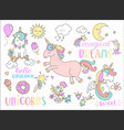 set of unicorns and other fairy tales stickers vector image