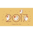 Set roosters on a beige background with geometric vector image