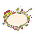 Frame with children and houses vector image vector image