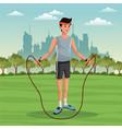 sport man lifestyle park city background vector image