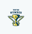 you are number one abstract emblem champion prize vector image vector image