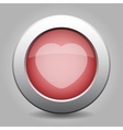 gray chrome button with heart vector image