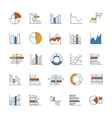 Set of chart icons in thin lines vector image