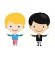 Blonde boy cartoon boys in different vector image