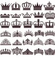 Set of silhouettes of vintage crown vector image