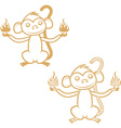 Set of the gold monkey monkey year vector image