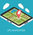 GPS mobile navigation with tablet or smartphone vector image