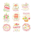 Kids Birthday Party Entertainment Promo Signs Set vector image