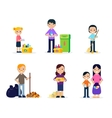 Garbage Cleaning Flat Set vector image vector image