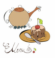 menu with cake and teapot vector image vector image