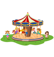 Cartoon little kid playing game carousel with colo vector image