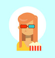female wearing 3d glasses with popcorn emotion vector image
