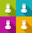 icons of medical doctor with shadow in modern flat vector image