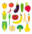 vegetables and fruit set for smoothie hipster vector image