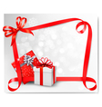 red gift bow with boxes vector image vector image