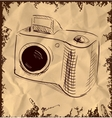 Photo camera isolated on vintage background vector image vector image