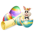 A cracked egg with a bunny vector image vector image