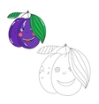 Educational game connect dots to draw plum vector image