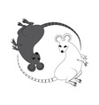 Yin Yang sign icon White and black cute funny rat vector image vector image