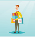 caucasian man holding shopping bags and gift boxes vector image
