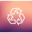 Recycle symbol thin line icon vector image