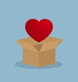 red heart over opened box vector image