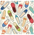 Seamless pattern with colored shoes and dashed lin vector image