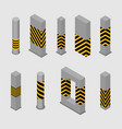 set of concrete columns and pillars vector image
