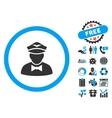 Steward Flat Icon with Bonus vector image