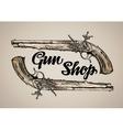 Vintage gun Hand drawn sketch antique vector image