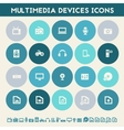 Multimedia icons Multicolored flat buttons vector image