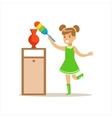 Girl Wiping The Dust From Vase With Brush Smiling vector image